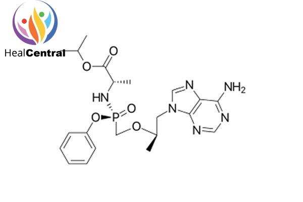 Cấu trúc hóa học của tenofovir alafenamide.