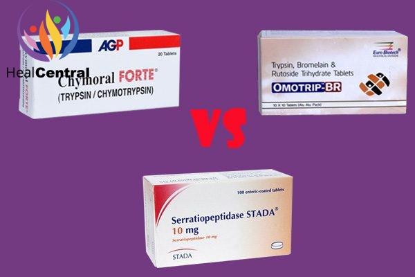 So sánh 3 thuốc Chymoral Forte, viên nén serratiopeptidase và viên nén chứa trypsin 48 mg, bromelain 90 mg, và rutoside 100 mg