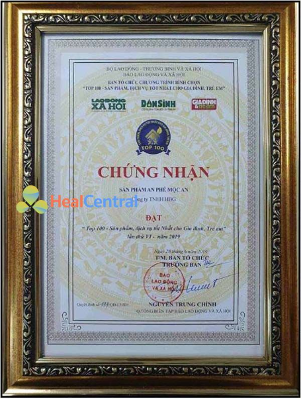 Sản phẩm an phế mộc an nằm trong top 100 sản phẩm tốt nhất Việt Nam