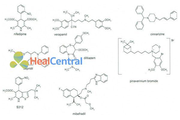 Cấu trúc hóa học của đại diện các họ chính của thuốc chẹn kênh calci