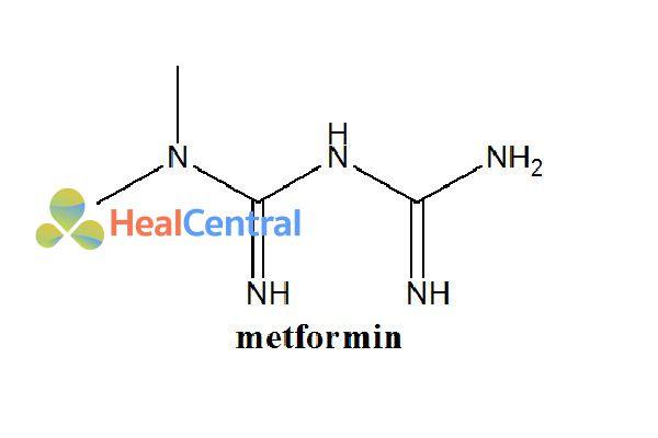 Cấu trúc hóa học của metformin .