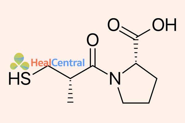 Cấu trúc hóa học của captopril.
