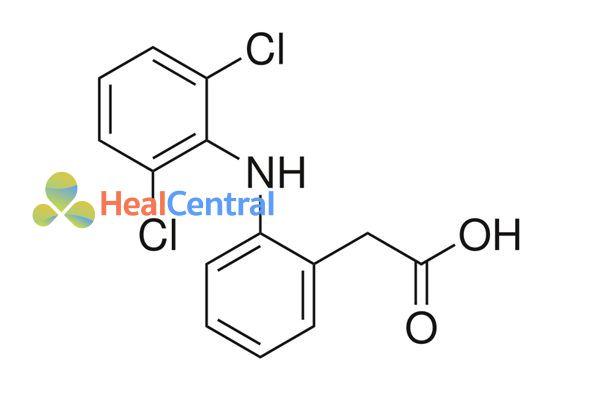 Cấu trúc hóa học của diclofenac.
