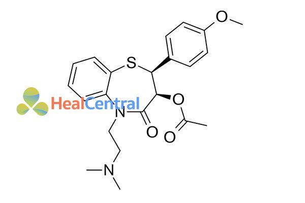 Cấu trúc hóa học của diltiazem.