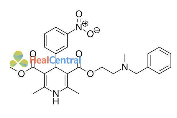 Cấu trúc hóa học của nicardipine.