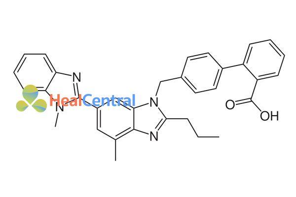 Cấu trúc hóa học của telmisartan.