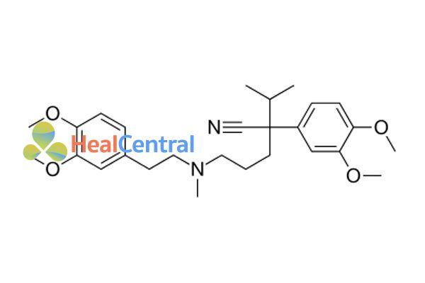 Cấu trúc hóa học của verapamil.