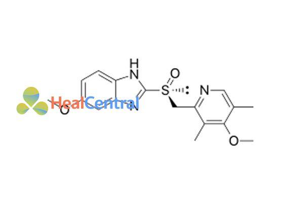 Công thức hóa học của esomeprazole.