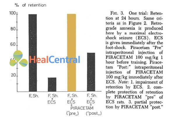 Sau khi não của chuột bị sốc điện 24 giờ, những con chuột được dùng piracetam trước đã nhớ 100%, trong khi những con chuột dùng giả dược nhớ ít hơn 20% thời gian.
