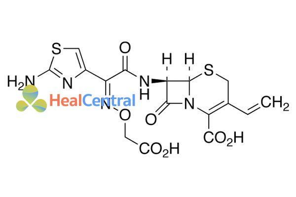 Cấu trúc hóa học của cefixime.