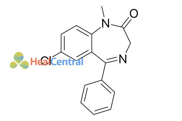 Cấu trúc hóa học diazepam.