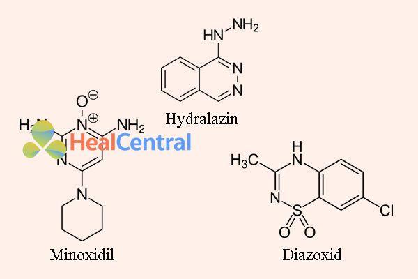 Công thức hóa hoc hydralazine, minoxidil, và diazoxid
