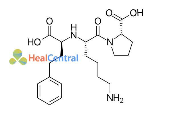 Cấu trúc hóa học của lisinopril.