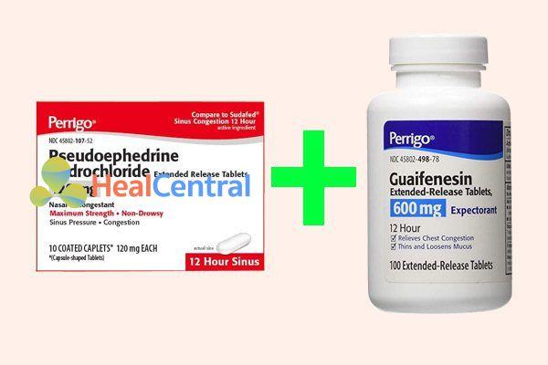 Kết hợp pseudoephedrine hydrochloride với guaifenesin