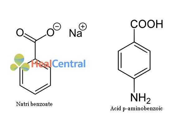 So sánh công thức hóa học Natri benzoate và PABA