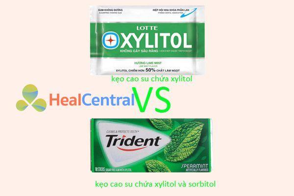So sánh xylitol và trident (xylitol+sorbitol)