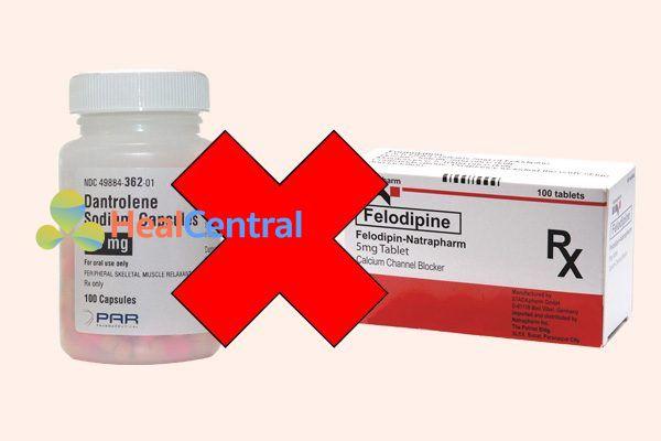 Tương tác thuốc felodipine và dantrolene
