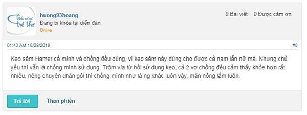 Review của khách về kẹo sâm Hamer trên webtretho