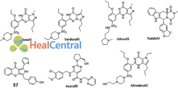 Cấu trúc hóa học một số chất ức chế PDE-5