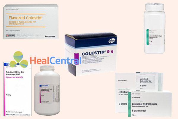 Các thuốc có hoạt chất là Colestipol
