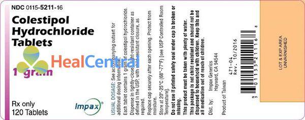 Nhãn thuốc Colestipol Hydrochloride Tablets