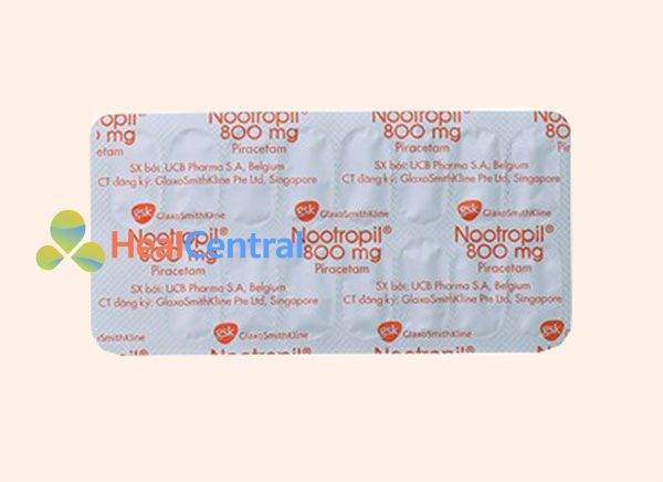 mặt sau của vỉ thuốc Nootropil 800 mg của GSK
