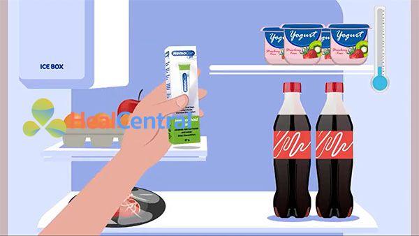 Bảo quản HemoClin trong ngăn mát của tủ lạnh
