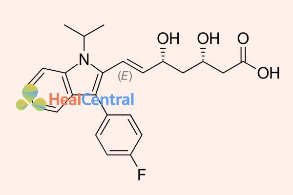 Cấu trúc hóa học của fluvastatin.