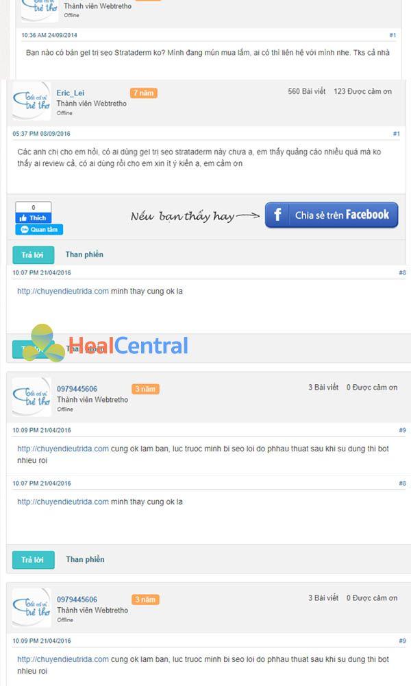 Review kem trị sẹo Strataderm trên trang webtretho