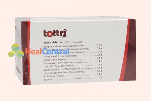 Thành phần của thuốc Tottri