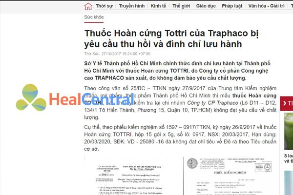 Thuốc Tottri bị thu hồi