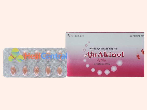 Hình ảnh hộp thuốc trị mụn Aju Akinol