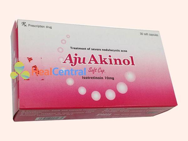 Thuốc trị mụn Aju Akinol có dạng bào chế là viên nang mềm
