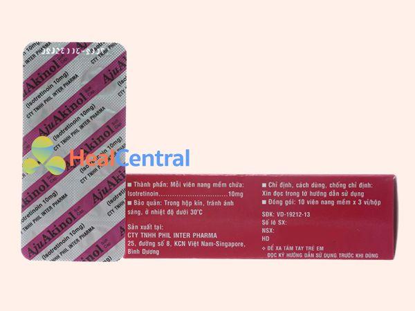 Thuốc trị mụn Aju Akinol có chứa Isotretinoin