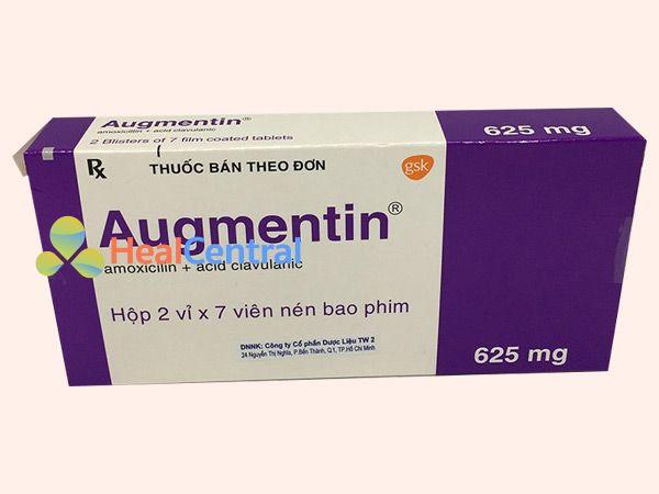 Thuốc Augmentin 625mg có sự kết hợp của Acid clavulanic và Amoxicillin