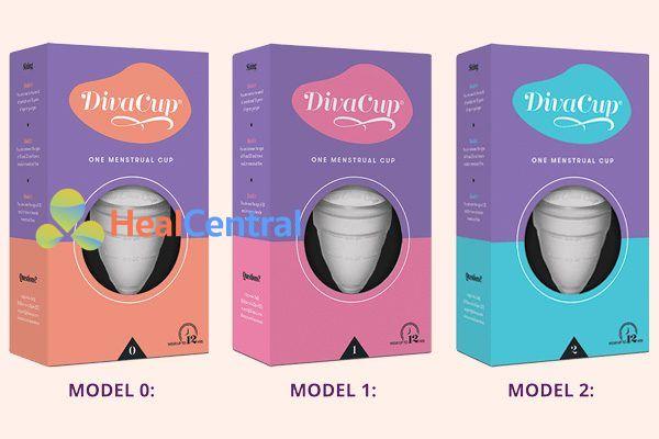 Cốc nguyệt san Diva cup có 3 size khác nhau