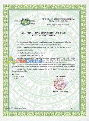 Giấy chứng nhận an toàn thực phẩm của Hàu Tam Hiệp Plus