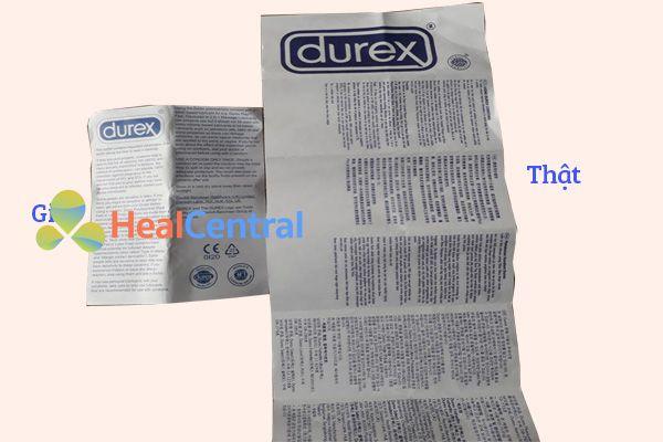 Durex thật có tờ hướng dẫn sử dụng to hơn