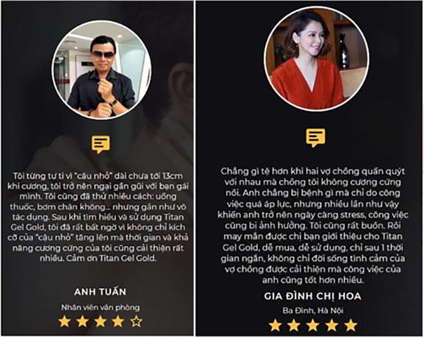 Review Titan Gel Gold của khách hàng