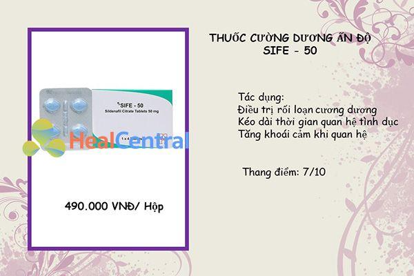 Thuốc cường dương cùng hoạt chất với viagra - Sife 50mg