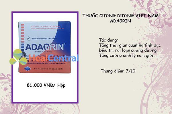 Thuốc cường dương Adagrin 50mg do Việt Nam sản xuất