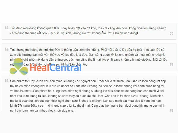 Review của khách hàng về cốc nguyệt san ICare