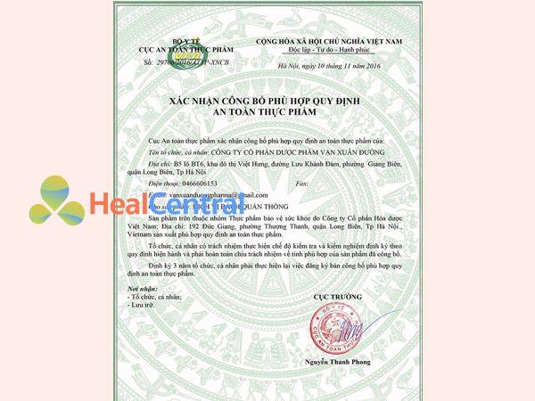 Giấy chứng nhận an toàn sức khỏe của Dịch Vị Bách Quản Thống