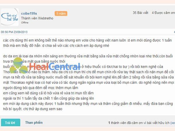 Phản hồi của người sử dụng kem nghệ Thorakao trên Webtretho