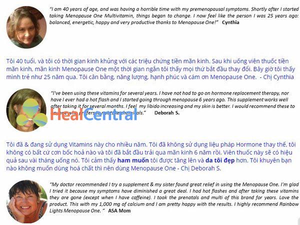 Review từ khách hàng về Menopause One