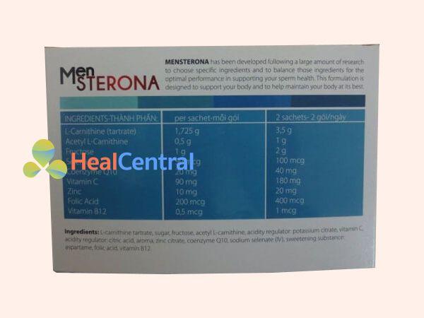 Các thành phần hoạt chất có trong Mensterona