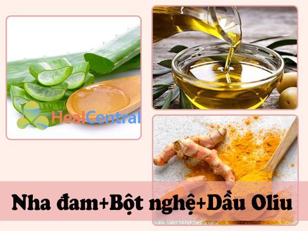 Sử dụng nha đam, bột nghệ, dầu oliu khoảng 2 - 3 lần/tuần giúp loại bỏ mụn thịt
