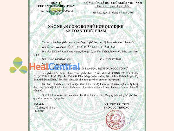 Ngọc Tố Nữ được Bộ Y Tế cấp giấy chứng nhận an toàn thực phẩm và được lưu hành toàn quốc