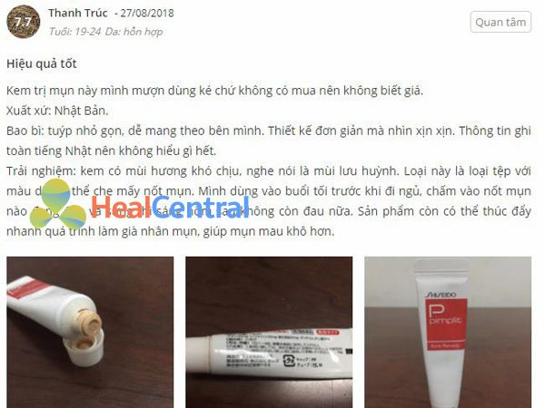 Review của khách hàng về kem trị mụn Shiseido Pimplit