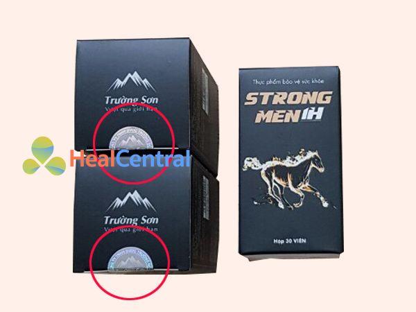 Sản phẩm Strong men 1h có dán tem chống giả